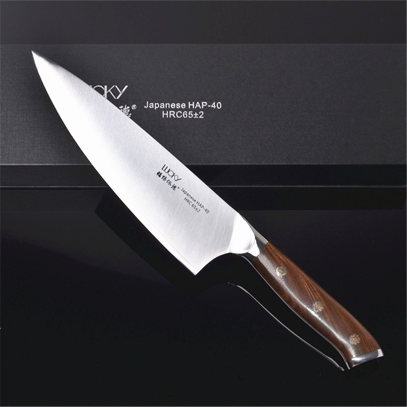 9 5inch Gyuto Chef Kitchen Knife HAP40 Steel High Carbon Steel Cleaver Meat Fish Fillet Slicing