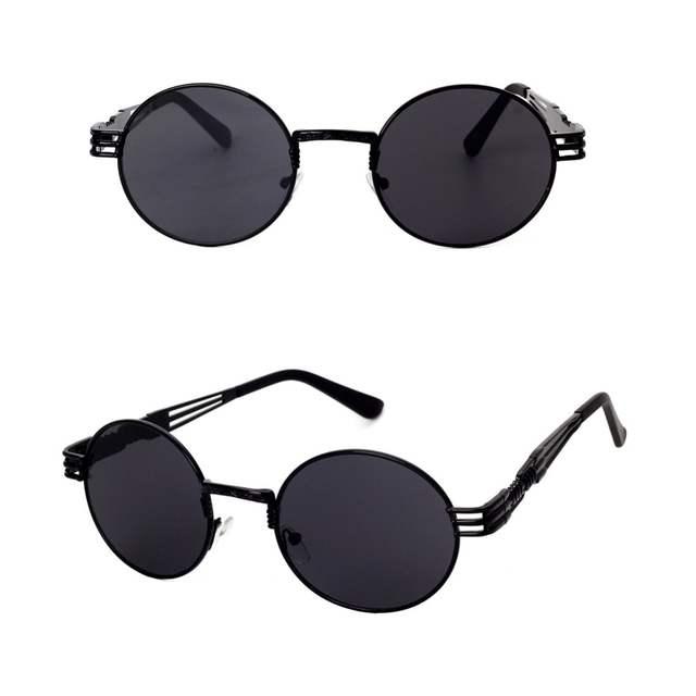 49366c882 Gothic Steampunk Sunglasses Men Women Metal Wrap Eyeglasses Round Shades  Brand Designer Sun glasses Mirror UV400