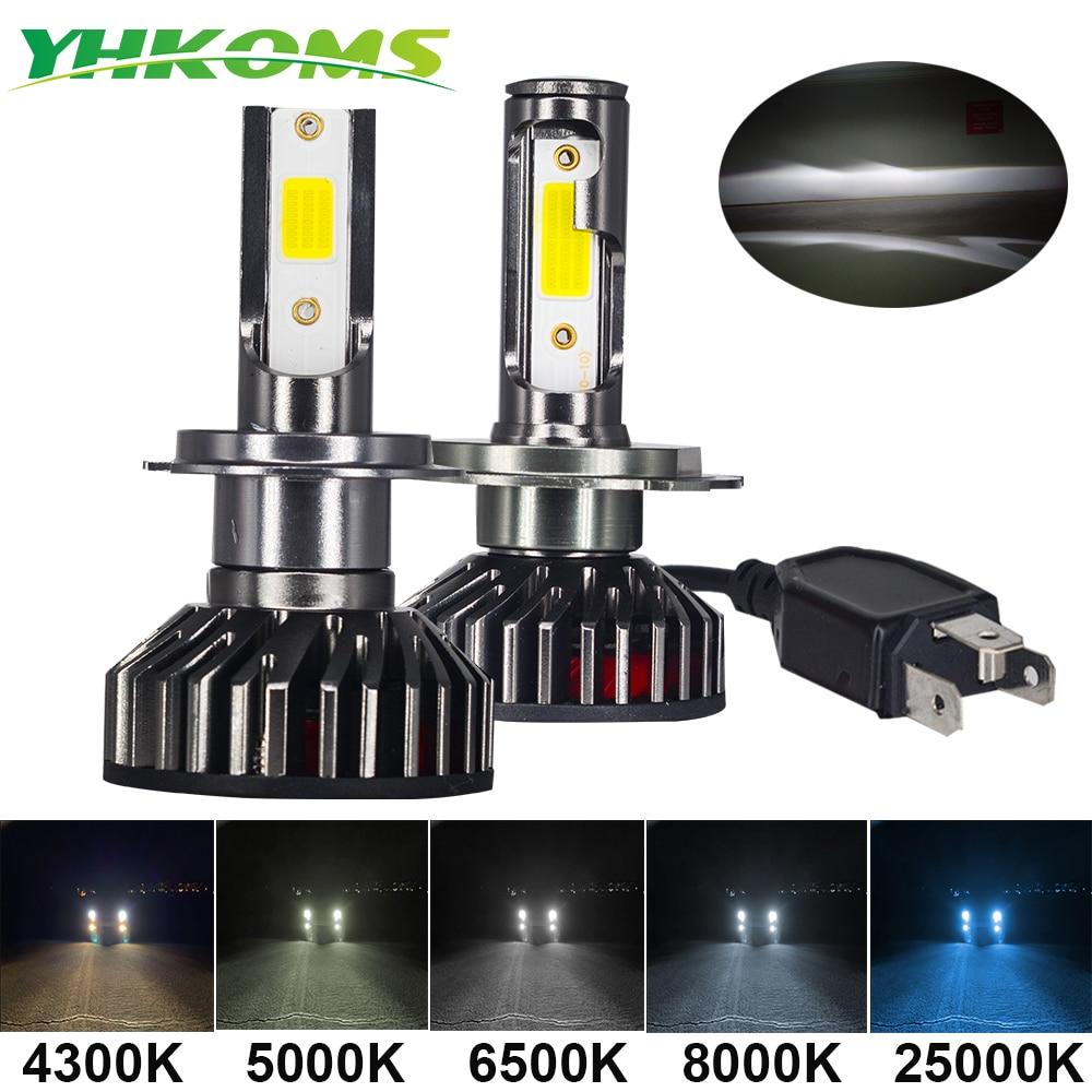 YHKOMS мини Размеры автомобилей головной светильник H4 H7 светодиодный 3000K 4300K 5000K 6500K 8000K 25000K H1 H8 H9 H11 9005 9006 светодиодный лампы автомобильная Противо-Туманная светильник 12V