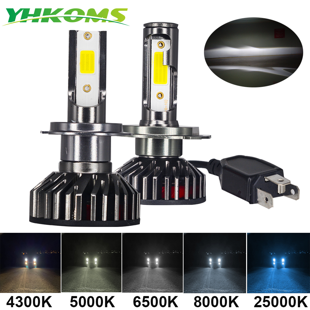 YHKOMS Mini Size Car Headlight H4 H7 LED 3000K 4300K 5000K 6500K 8000K 25000K H1 H8 H9 H11 9005 9006 LED Bulb Auto Fog Light 12V image