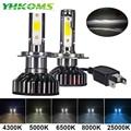 Yhkoms mini tamanho farol do carro h4 h7 led 3000 k 4300 k 5000 k 6500 k 8000 k 25000 k h1 h8 h9 h11 9005 9006 lâmpada led luz de nevoeiro automóvel 12 v