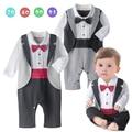 Детские смокинг комбинезон для мальчика джентльменский лук с галстук 2 цвета с длинными рукавами клетчатой жилеткой для дней рождения вечеринок и свадеб