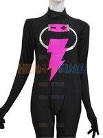 2016 Custom Made Style Black Female Lightning Pattern Superhero Costume High Elastic Spandex Zentai Bodysuit For