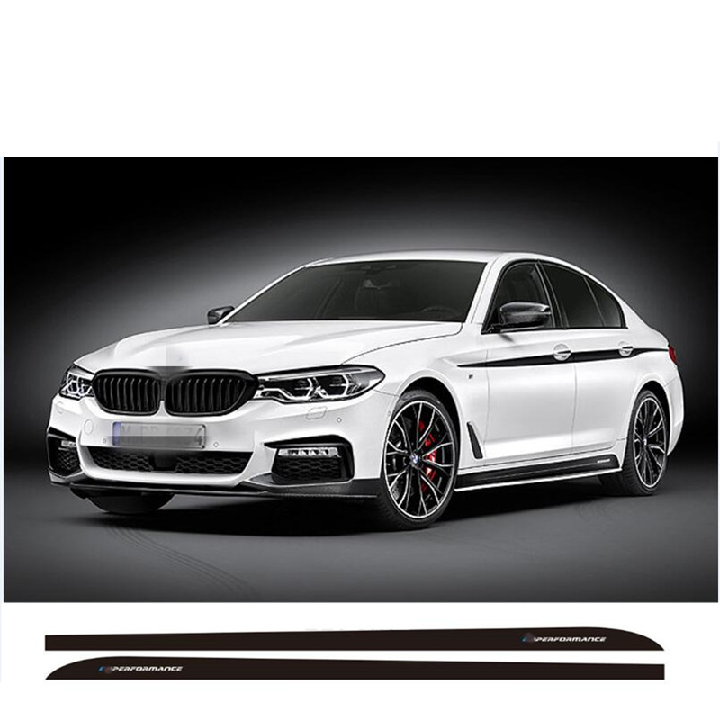Charming Horse 2168 Store Matte/Gloss/5D carbon fibre Black New Letter M Performance Side Skirt Racing Stripe Sticker Body Decal For BMW 5 Series G30