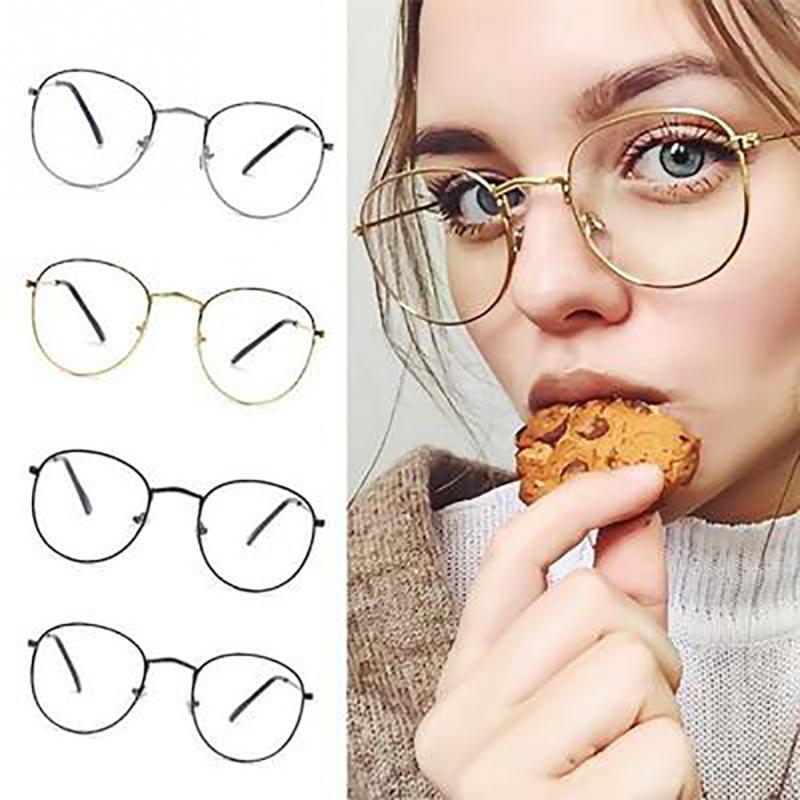 Vintage Round Glasses Frame Retro Round Lens Flat Myopia Optical Mirror Simple Classic Metal Frame Glasses Black /Gold/Silver