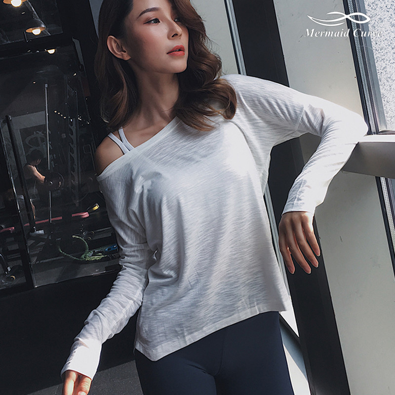 Mermaid Curve Fitness Clothing Loose Breathable Sportswear Women Long Sleeve Sports T Shirt Yoga Top Quick-Dry Running Shirt
