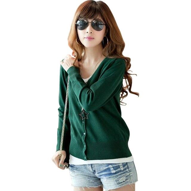 05d56beaf Women Button Down Long Sleeve Basic Soft Knit Cardigan Fashion ...