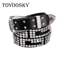 Rhinestone Rivet Belt For Women Super Shiny Luxury Designer Genuine Leather High Quality Strap Female