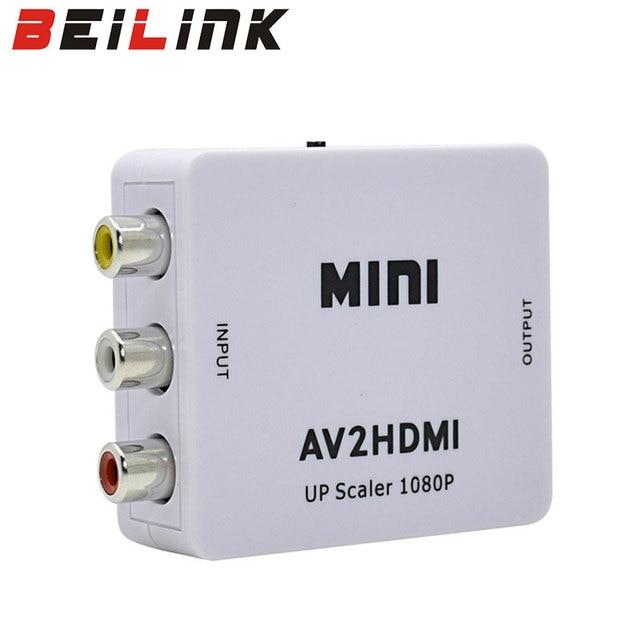 Hot Sale White RCA AV HDMI CVBS to HDMI Adapter HD 720P 1080P AV to HDMI Mini av2hdmi Video Converter