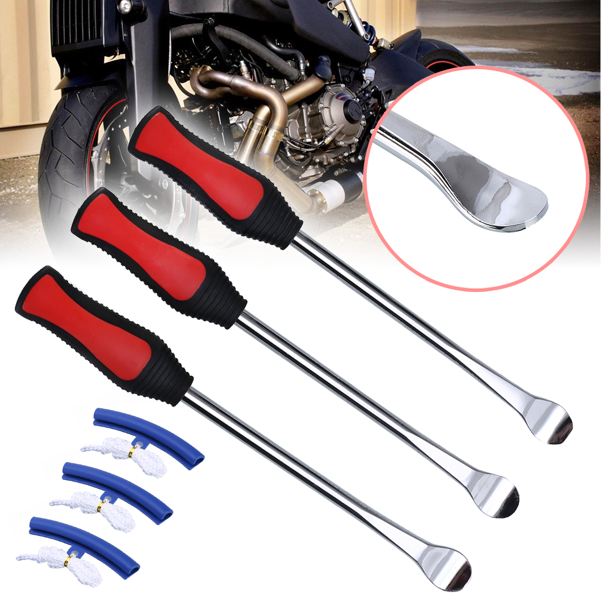 3PCS Tire Lever Tool Spoon Tire Repair Changing 3 Wheel Rim Protector Kit Strong Weather-Resistant Motorcycle Bike Accessories image