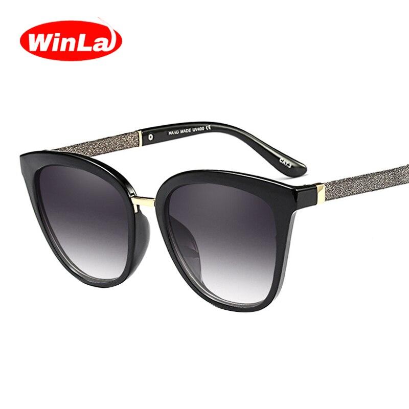 Winla Fashion Design Cat Eye Occhiali Da Sole Donne Occhiali Da Sole  Specchio Lenti Sfumate Lusso af865695db