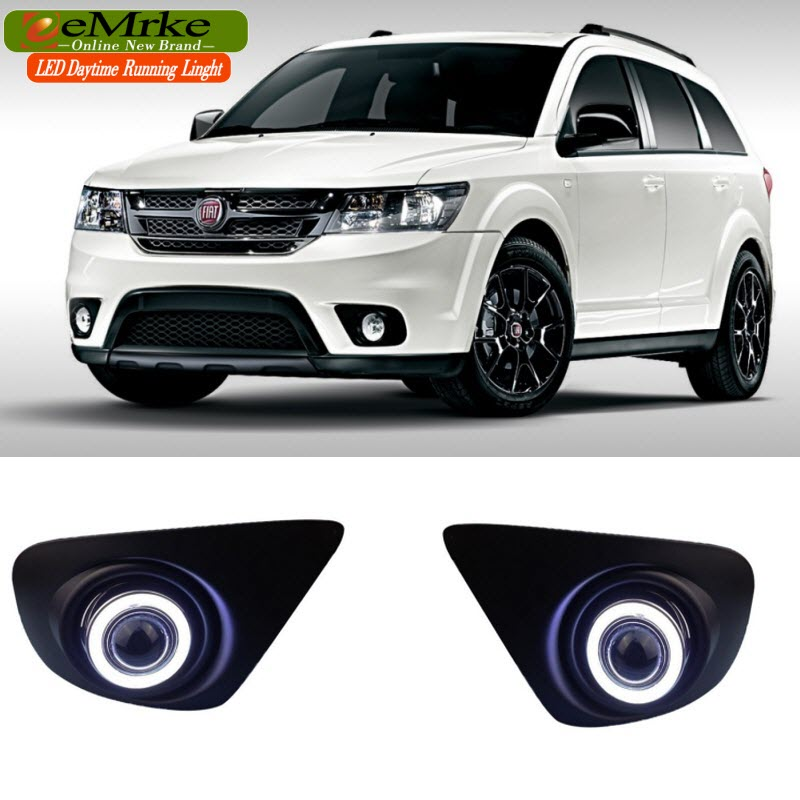 eeMrke For Fiat Freemont LED Angel Eye DRL Daytime Running Lights Halogen H11 55W Fog Lamp Light eemrke daytime running lights for mazda6 sedan wagon led angel eye drl halogen h11 55w fog lamp kits