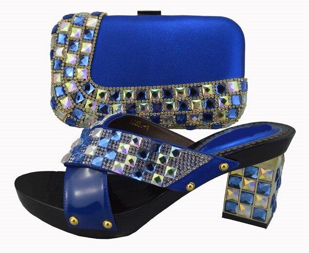 Cm Femmes Argent Sl01 Pour Talon Pompes 8 silver À Match Africaine Sac Ensemble Main Blue Haute Partie Conception Noir Vente Chaude Chaussures La UREqw