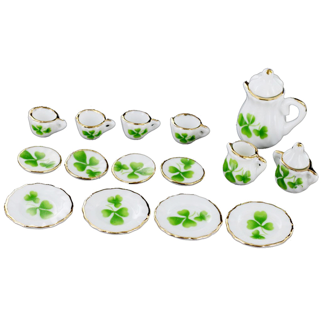 Exceptionnel 1/12 Dollhouse Miniature Dining Ware Porcelain Tea Set Pot Cup Dish Set Of  15