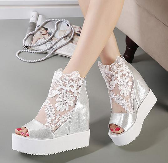 Newest White Silver Sexy Lace Platform Wedge Heels Dress Shoes Wedding Peep Toe Women 2 Colors Size 34 To 39 In Womens Sandals From On