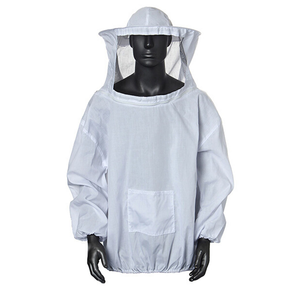 Professional Beekeeping Protective Suit Jacket Practical White Protective Beekeeping Clothing Veil Dress With Hat Equip Suit