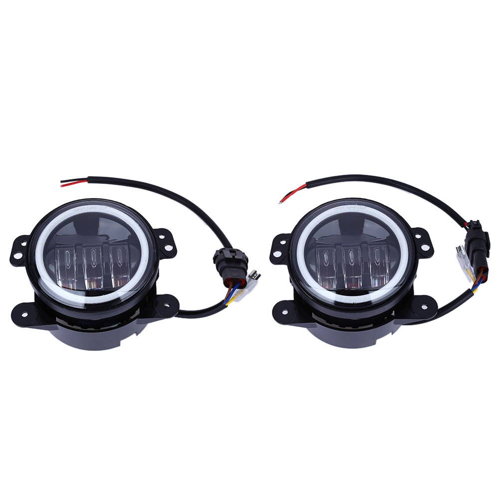 ФОТО Paired OL - JF02A 10 - 30V 30W 4 Inch Angel Eyes Fog Lamps Shock-proof  Round Foglight for Jeep Wrangler Front Bumper Lights