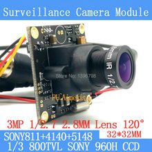 32*32mm Surveillance camera 800TVL 1/3 Effio CCD Sony 811+4140+5148 CCTV camera module,3MP+2.8mm lens 120degrees+BNC/OSDCable