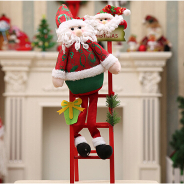 merry christmas santa claus climb the ladder ornament christmas tree decoration navidad decoration gift natal new
