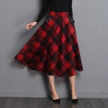 Neophil, английский стиль, красные клетчатые юбки средней длины с высокой талией, шерстяные юбки размера плюс 3XL, трапециевидные плиссированные, зимние женские юбки из тартана S1735