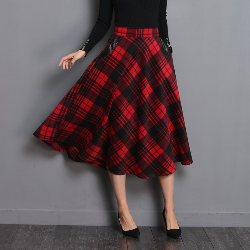 Neophil England Style Red Plaid High Waist Midi Skirts Woolen Size 3xl
