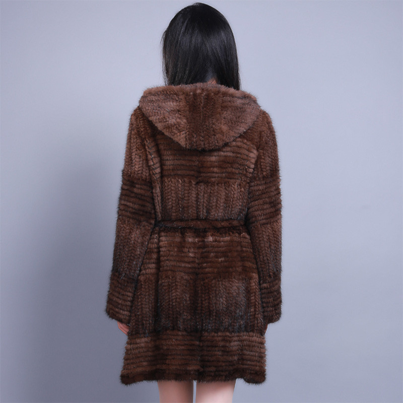Новинка 2017 года 100% натуральная трикотажные норки Пальто Верхняя одежда зимняя куртка ручной работы с меховым капюшоном Винтаж классически