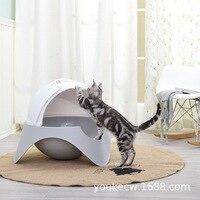 Пластиковая коробка для туалета с закрытыми кошачьими кошками, домашние животные, котенок кошек, сковородки, коробки для подстилок, трениро
