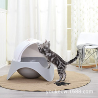 Plastic Cat Enclosed Litter Box Toilet Close Pet Kitten Cats Bedpans Potty Litter Boxes Training Pet WC Product Pet Supplies