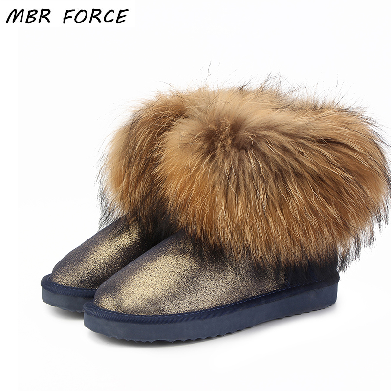 MBR FORCE Top Fashion Women Natural Fox Fur Snow Boots 100% Genuine Cow Leather Winter Boots Female Winter Shoes Women UG Boots