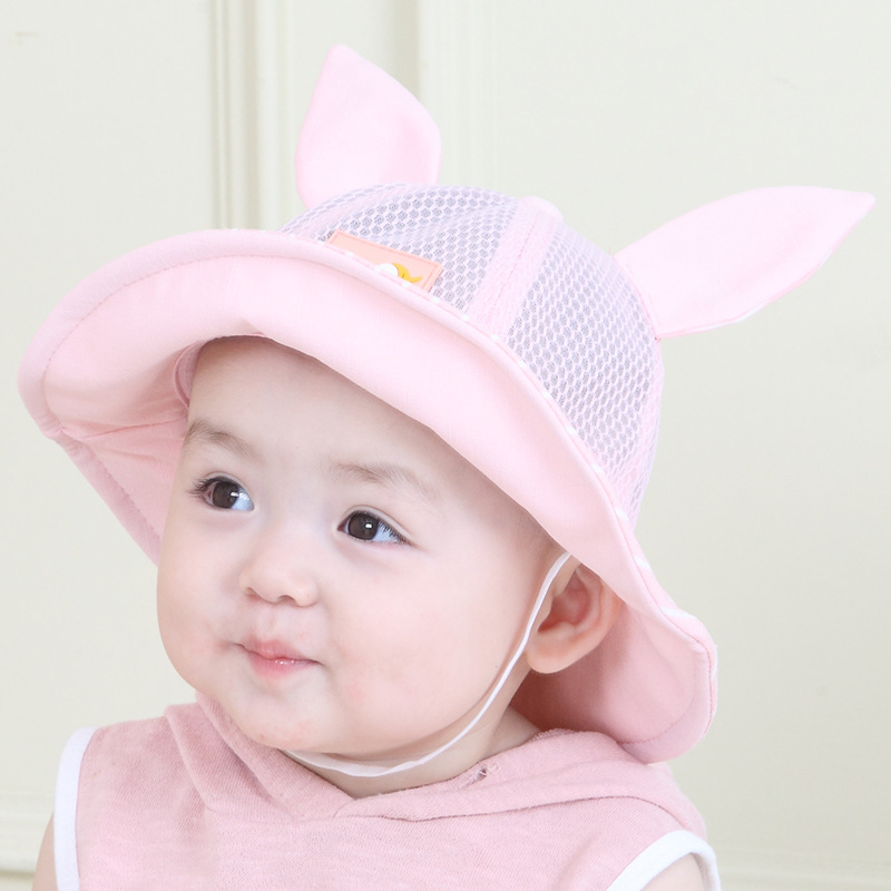 ff06bb085f2 Summer Mesh Baby Girls Hat Rabbit Ears Cute Baby Hat Wide Brim Summer Sun  Cap Breathable Sunscreen Hat For Girl Baby Accessories-in Hats   Caps from  Mother ...