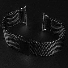 Negro correa de acero inoxidable hebilla clásica 38 42 mm correas de reloj correas de reloj