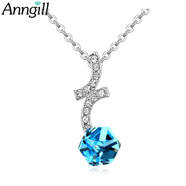 ANNGILL 100% Cube Crystals from Swarovski Necklaces Pendants Cristal Collar Fine Jewelry Choker Necklace Colar Gifts Accessories