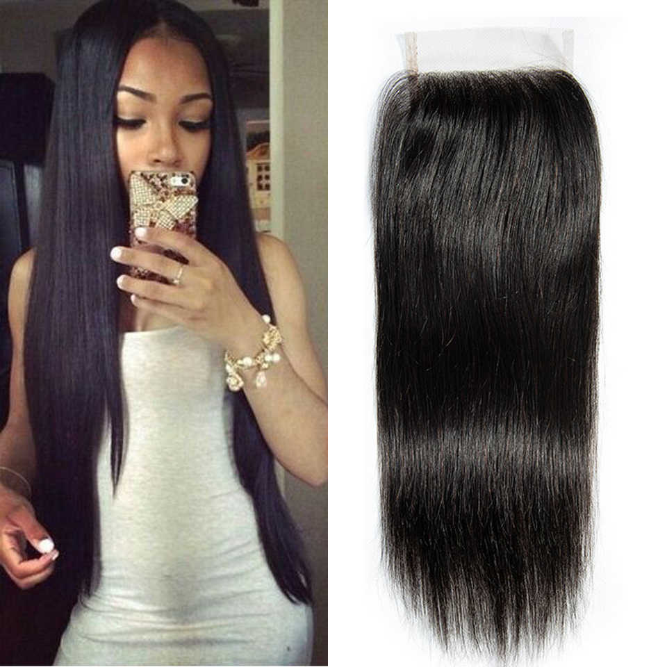 Hair Master 100% Brazilian Human Hair Straight 8-22 Inch 4x 4 Lace Closure 1B Middle Free Three Part Natural Color Remy Closure