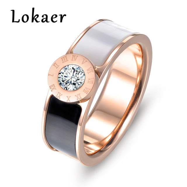 Lokaer Classic Stainless Steel Fine Brand Jewelry Resin And Shell Roman Alphabet