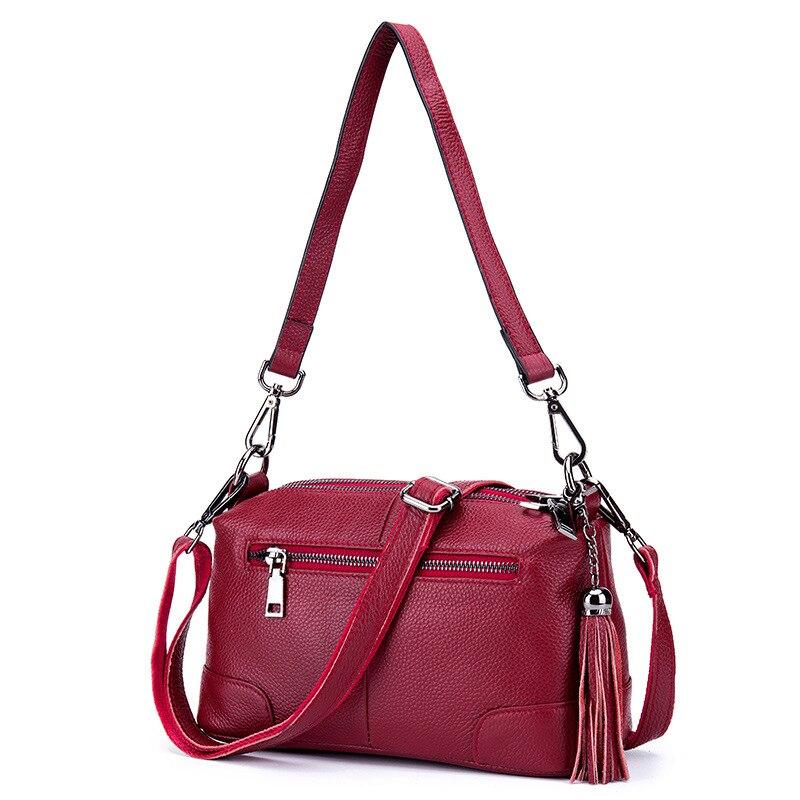 цена на Women's Real Leather Bags Red Bag for Lady Bolsos Crossbody Bags for Women Tassels Cartera De Fiesta Messenger Shoulder Bag