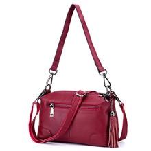 Women's Real Leather Bags Red Bag for Lady Bolsos Crossbody Bags for Women Tassels Cartera De Fiesta Messenger Shoulder Bag