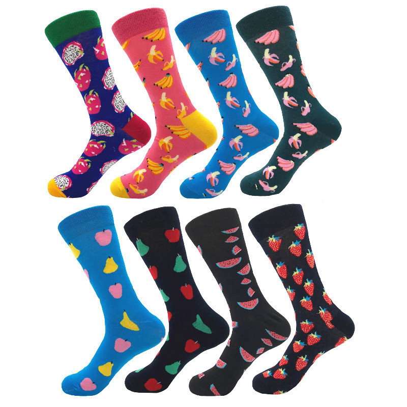 1 pair men socks color combed cotton men's socks casual with