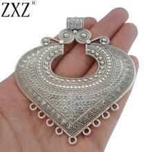 ZXZ 2 шт. античное серебро в этническом стиле большое сердечко Разъем Подвески Кулоны из нержавеющей стали для Цепочки и ожерелья ювелирных изделий, украшения своими руками, 85x74 мм