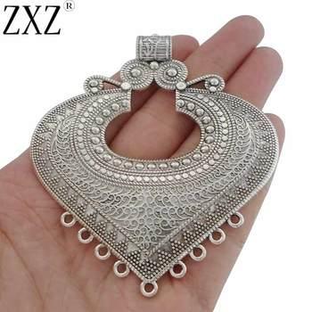 7b03ef78b606 ZXZ 2 piezas de plata antigua étnica conector de corazón grande colgantes  para collar joyería hacer hallazgos 85x74mm