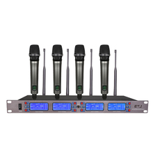 hot deal buy etj et-4000 100 channel cordless wireless microphones system uhf karaoke system four handheld or bodypack stage home party