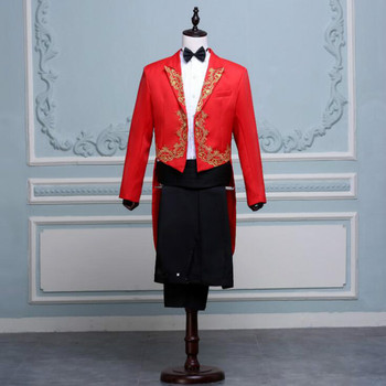 Men's suits inlaid gold flower tuxedo suit singer hosted the chorus commander stage costume black and white red