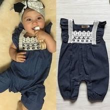 Fashion Toddler Baby Kids Girls Clothing Rompers Denim Lace Harem Shorts Jeans Jumpsuit цены онлайн