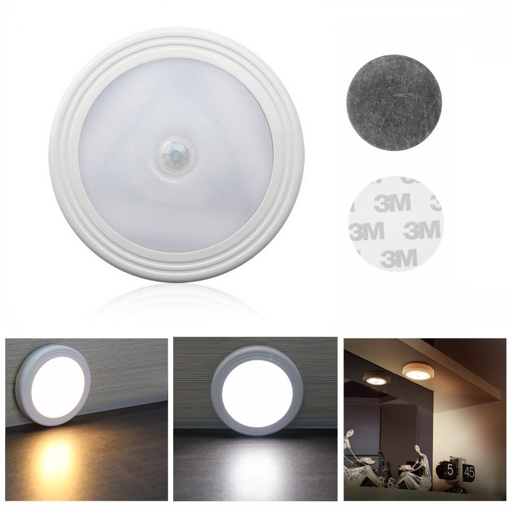 6 LED Infrared PIR Motion Sensor Night Light Wireless Cabinet Light Wall Lamp Light Auto On/Off Closet Battery Power