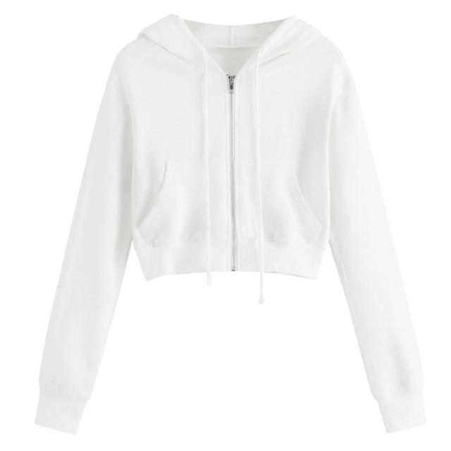 Cropped Hoodies Sweatshirt Women Solid Long Sleeve Zipper Pocket Shirt Hooded Sweatshirt Streetwear Casual Shirt Hooded Tops d3