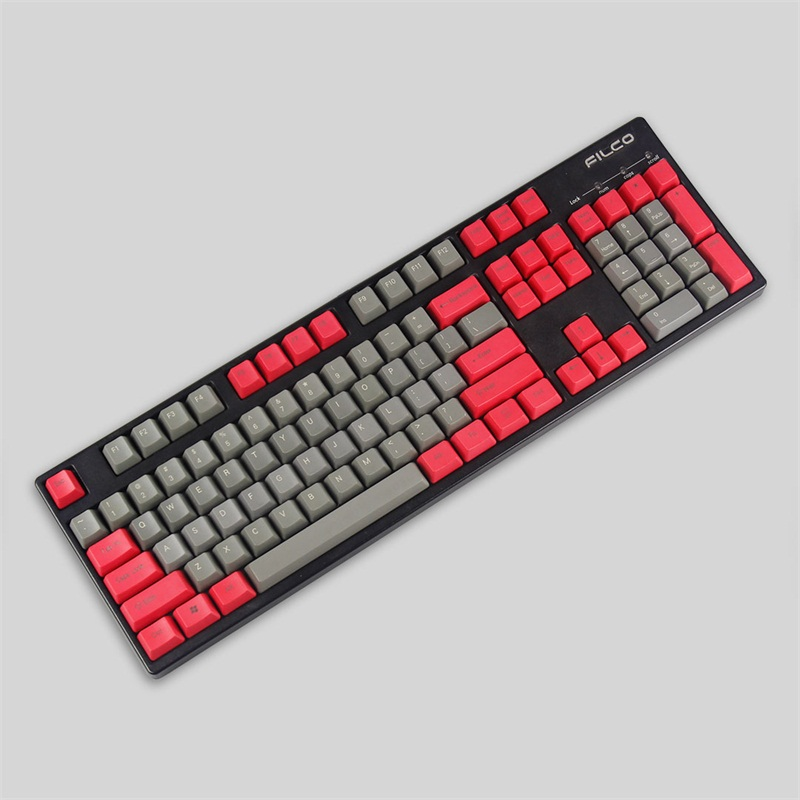 top printed keycap pbt material for mechanical keyboard 104 keys red grey keycaps thunderobot storm shadow k75t pbt 104 keys mechanical keyboard
