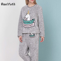 RenYvtil Adult Women Kawaii Unicorn Flannel Pajama Sets Cartoon Animal Thick Bundle Plush Pijama Costume Nightgown