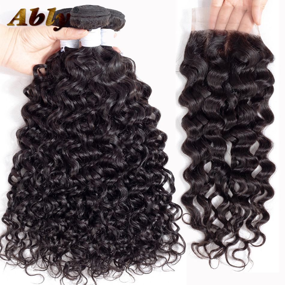 Raw Indian Wavy Hair 3 Bundles With Closure Ably 100% Remy Human Hair Weft Weave Full Bouncy Wet And Wavy Bundles With Closure