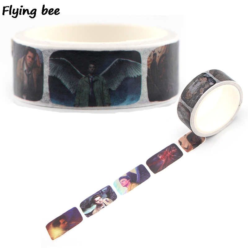 Flyingbee 15mmX5m Paper Washi Tape Supernatural Adhesive Tape DIY Scrapbooking Sticker Fashion Cool Masking Tape Gifts X0343