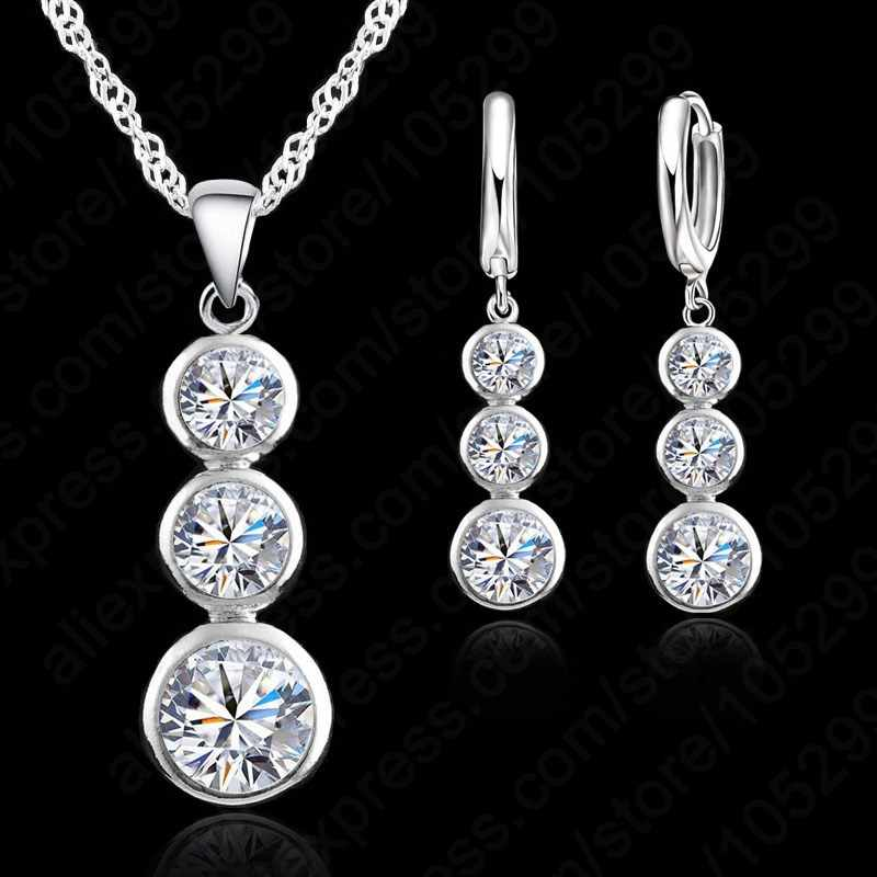 Women Fine Jewelry 925 Sterling Silver Crystal Jewelry Sets For Wedding Pendants Necklaces Earring Set Accessory