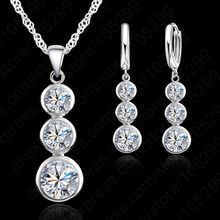 Women Fine Jewelry 925 Sterling Silver Crystal Jewelry Sets For Wedding Pendants Necklaces Earring Set Accessory(China)